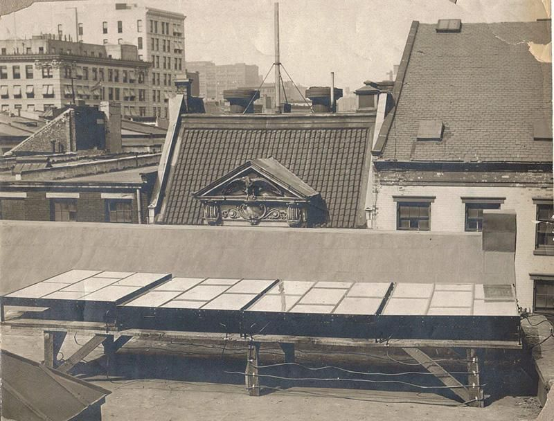 Photo of the very first solar cell created by American inventor Charles Fritts